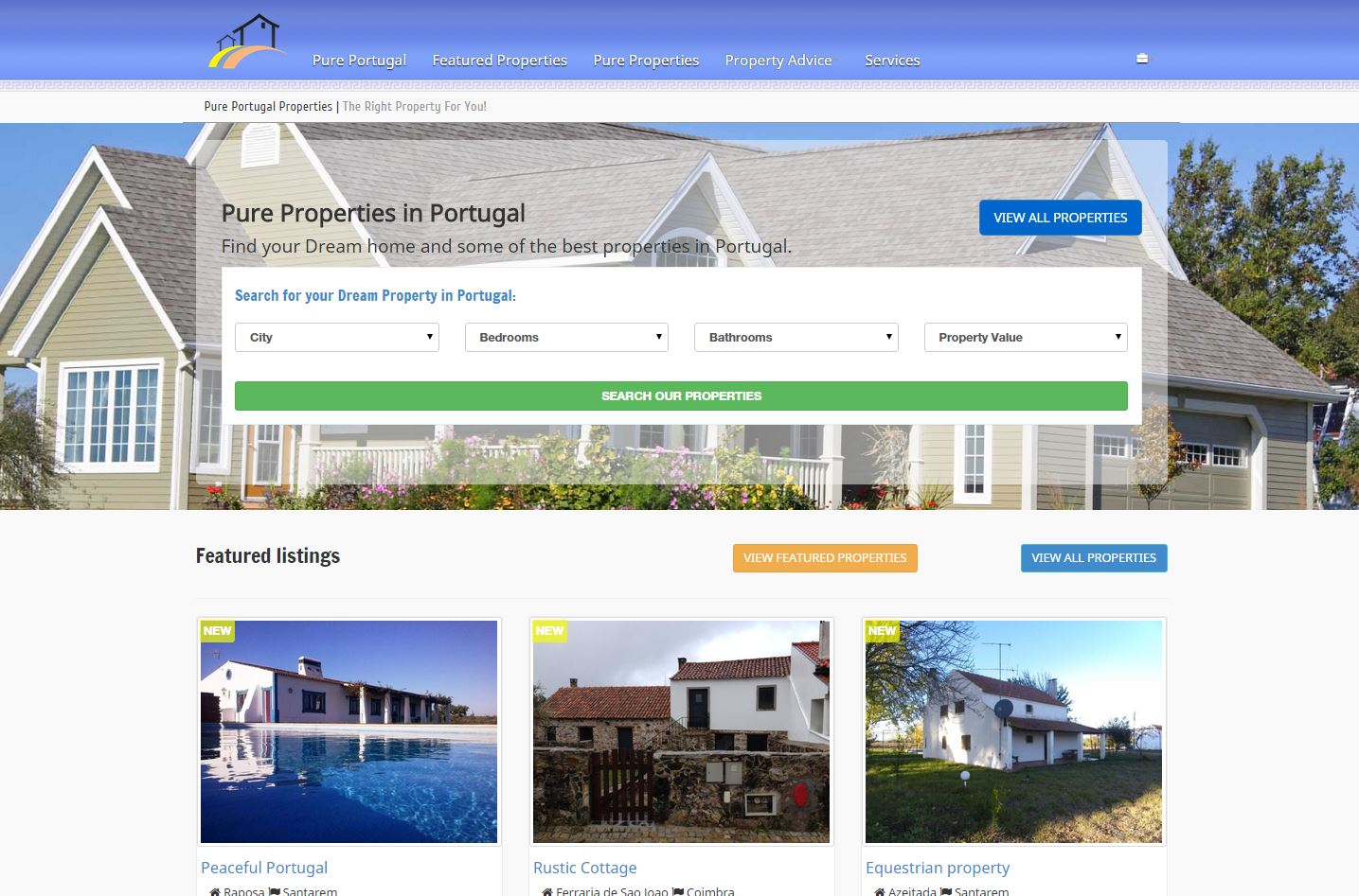 Pure Portugal Properties Website